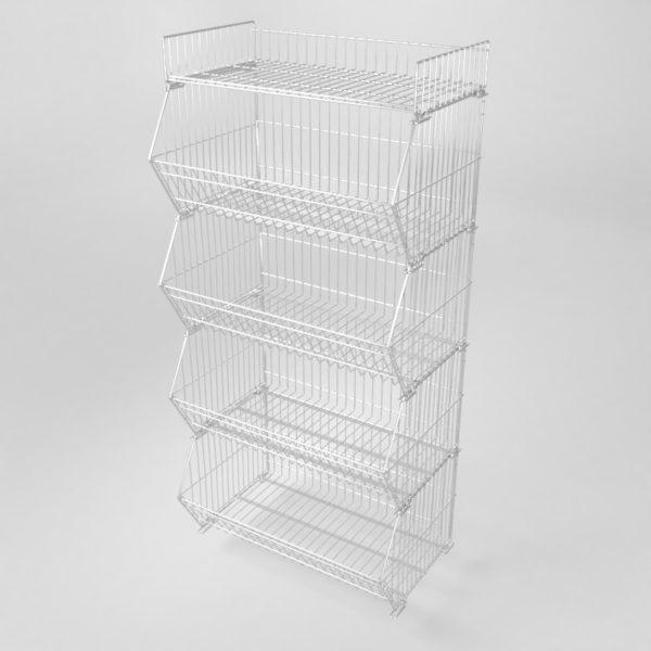 Stablekurv for eksponering av varer. Stor og solid trådkurv for masseeksponering av varer. Kan stables flere i høyden slik som på bildet, eller den kan stå alene.